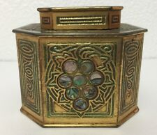 Antique Tiffany Studios Bronze Inkwell #1157 Abalone Trim