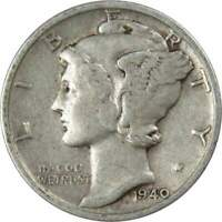 1940 S 10c Mercury Silver Dime US Coin VF Very Fine