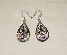 """Natural Purple Amethyst 925 Sterling Silver Dangle Earrings 1 3/4"""" Drop Elegant"""