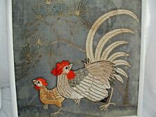 More details for antique vintage japanese embroidery silk panel cockerel roosters raised silks