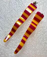 Vintage 1980's plastic stripes yellow fuchsia piercing earrings – Summer sale!