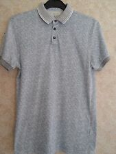 """RIVER ISLAND LIGHT TEAL & GREY COTTON POLO SHIRT SIZE S (CHEST 32"""")"""