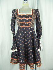Gunne Sax by Jessica Vtg 70s Black Roses Hippie Junior Dress-Bust 30/3Xs