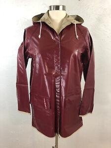 VTG S Reversible Shiny Maroon Beige Vinyl Raincoat Hood Rain Jacket Slicker PVC