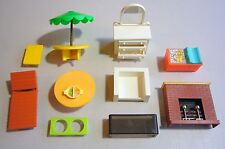 11pc Fisher Price Dollhouse Furniture toys Patio-Table Lounge Fireplace Dresser