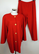 Bleyle Vtg Womens 14 Red Gold Buttons 100% Wool Knit Jacket & Pants Suit