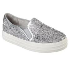 Skecher Double-Up Glitzy Gal Embellished Silver Flat Studs Slip-on Shoes Wms 8