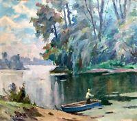 painting art IMPRESSIONISM old vintage soviet fisherman landscape Yusov fishing
