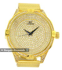 mens big 57 mm heavy gold tone ice out CZ clubbing watch case mesh strap