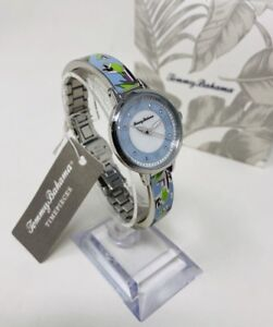 Tommy Bahama Women's Tropical Print Bracelet Watch, Blue,TB00035-01