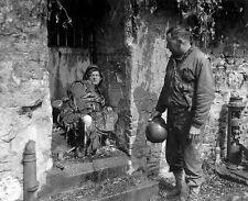 "US Soldier inspecting German dead in Cherbourg 8""x 10"" World War II Photo #162"