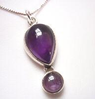 Amethyst Teardrop 2-Gem 925 Sterling Silver Pendant Corona Sun Jewelry