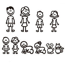 Family Member Car Sticker Removable Car Decal Decor Cute Vinyl Art Decal