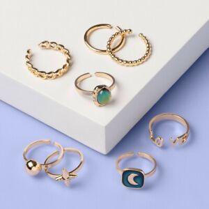Girls' 8pk Celestial Mood Ring Set - More Than Magic , Grey