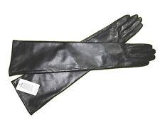 60cm(23.50 pouces)Femmes Noir 100% cuir long Opéra gants, Leather Evening Gloves