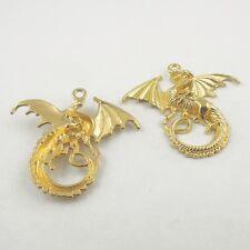 38436 Gold Tone Alloy Beautiful  Dragon Pendant Charms Findings 46*39*5 mm 10pcs