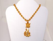 Vintage 24K Solid Yellow Gold Cat Motif Pendant Fine Jewelry