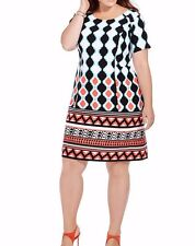 Plus Size Signature By Robbie Bee Sheath Women's Dress In Mixed Ikat Print 16W