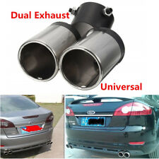 60mm Chrome Car Stainless Steel Bend Dual Exhaust Pipe Muffler Tip Tail Y-Pipe