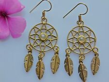 Ethnic Earrings,Flower of Life Earrings,Brass Earrings With Rainbow Moonstone