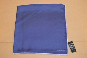 $165 NWOT TOM FORD Purple w/ Lilac border Men's solid silk pocket square Italy
