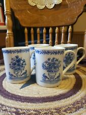 """Andrea By Sadek - """"Blue in Bloom"""" Williamsburg Coffee Cup Mug Set of 4"""