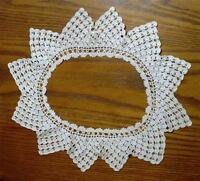 BEAUTIFUL LADIES ANTIQUE 1920's HAND-CROCHETED CREAMY WHITE COLLAR-PERFECT COND.