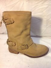Dune Beige Ankle Suede Boots Size 36