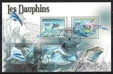 Animaux Dauphins Centrafrique (211) série complète de 4 timbres oblitérés