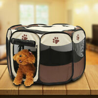 Portable Folding Dog Cage Pet Tent House Playpen Kennel Cat House 8-Side Fence