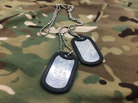 Military Army Dog Tags Your Personal Message, Embosed in Top Quality GI Tags
