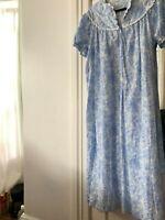 Lanz of Salzburg signature  Cotton Night Gown Size medium light blue floral SS