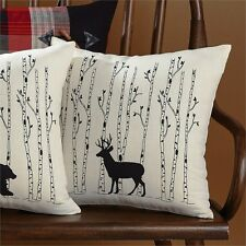 "DEER and BIRCH ACCENT 16"" PILLOW COVER : BUCK CABIN LODGE RUSTIC TREE"