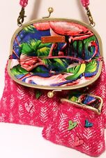 Pink tweed Handbag and Purse set Pink Flamingo print lining quirky kitsch funky