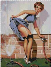 Retro Pin-Up in Sprinklers Kitschy Cross-Stitch Pattern