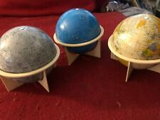 """Vintage Replogle 6"""" Tin Litho Globe Set: Moon, Earth and Constellations w/Stands"""