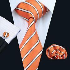 Nouveau design italien Orange/Blanc à Rayures Cravate en soie mouchoir & boutons de manchette