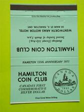 HAMILTON COIN CLUB 1935 CANADIAN SILVER DOLLAR 125 ANNIVERSARY 1971 MATCHBOOK
