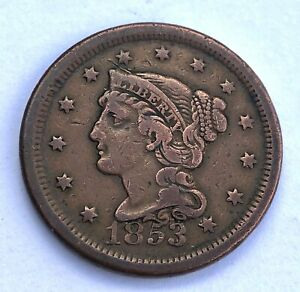 NICE GRADE USA 1853 LARGE HEAD US 1 ONE CENT PENNY COIN BRAIDED HAIR