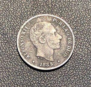 1885 Philippines 10 Centimos de Peso ! Nice grade! Attractive coin!