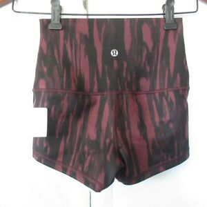 Lululemon Boogie Shorts Roll Down Animal Bordeaux Drama High Rise Bootie Fitted