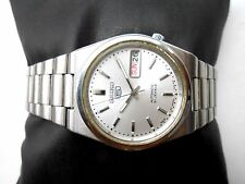 VINTAGE SEE THROUGH MID SIZE SILVER WHITE DIAL SEIKO 5 JAPAN MEN AUTOMATIC WATCH