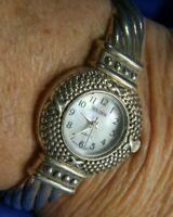 GOLDEN MOP face silver tone CUFF band estate WATCH fresh battery 11/20 A10