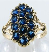 DIVINE LONG 9CT 9K VICTORIAN INS BLUE SAPPHIRE 13 STONE RING FREE RESIZE