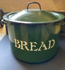 "Enamel Bread Bin in Racing Green 8""h x 12"" diameter Made in Poland, Large Round"