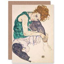 Egon Schiele Seated Woman Legs Drawn Adele Herms Blank Greeting Card