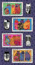 "Feline Frolic, Laurel Burch, Placemat Panel 24"" x 44"", Clothworks Fabric, P0003"