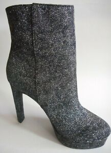 BRAND NEW GUESS LA Size 8.5 Shiny Glitter Silver Fabric High Heel Fashion Boots