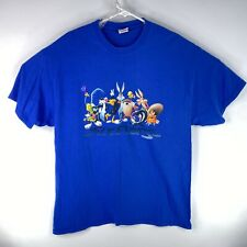 Vintage 2000s Looney Tunes Adult Sz Xl Blue Six Flags Cartoon Tv Show T Shirt