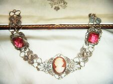 ANTIQUE ART DECO Lovely Filigree Shell Cameo Pink Paste Crystal Vintage BRACELET